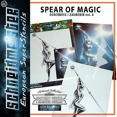 "TOP AIRBRUSH SCHABLONE ""SPEAR OF MAGIC"", PROFILINE / MULTILAYER SM-HBSO04, ca A4"
