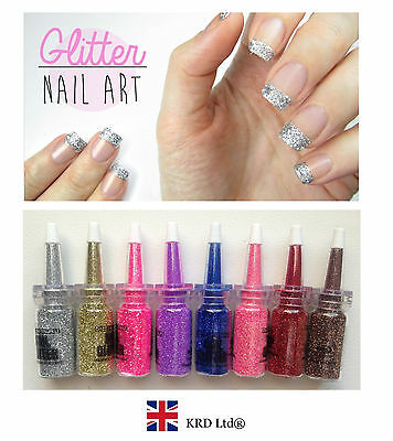 FINE GLITTER CRYSTALS Nail Art Decor Beads Dust Manicure BOTTLES + TIP Gift B3