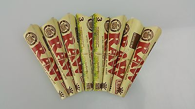 8 Packs of 3 Ea. Classic RAW Rolling Paper Cones Organic Hemp Pre-Rolled King's