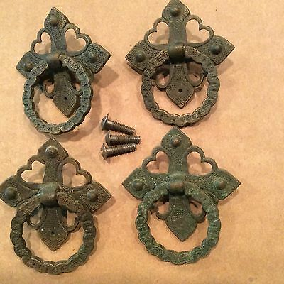 5 Antique Cast Brass Mission/Arts And Crafts Style Pulls