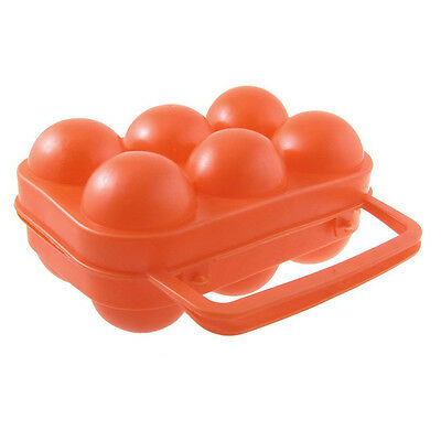 Outdoor Camping Orange Red Folding Plastic Egg Tray Box Case DT
