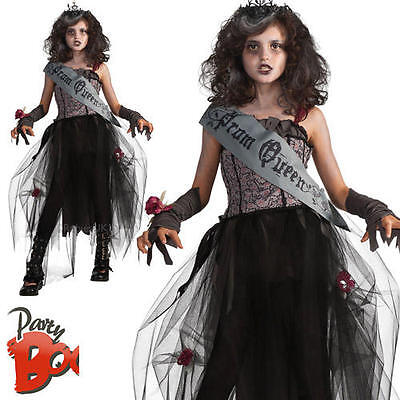 Goth Prom Queen Ages 5 6 7 Girls Fancy Dress Halloween High School Kids Costume