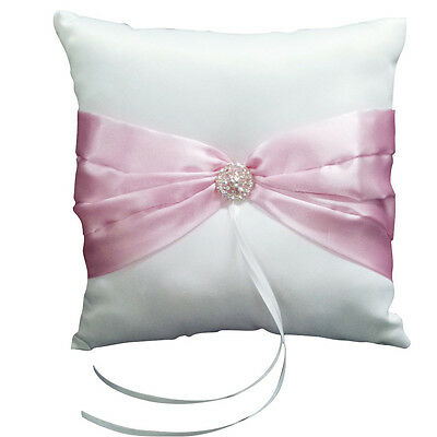 Wedding Ceremony White Satin Ring Pillow Cushion-Pink Ribbon GY