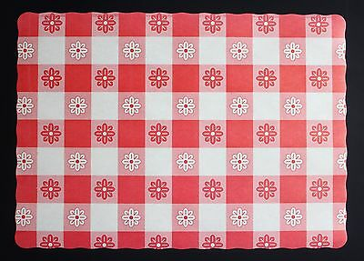 100 Red Gingham Paper Placemats Free Shipping