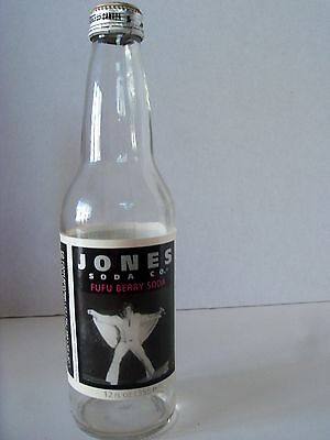 12 oz. Jones Soda co. FUFU BERRY SODA Bottle and Cap  with Elvis Picture