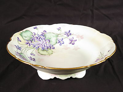 Hutschenreuther Selb LHS footed bowl vtg Bavaria Germany M Brooks gold flowers