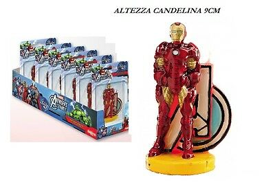Candelina Iron Man Disney In 3D Festa Party Compleanno Candela Topper Torta