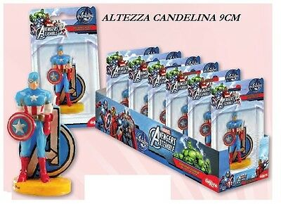 Candelina Capitan America  Disney In 3D Festa Party Compleanno Candela Topper
