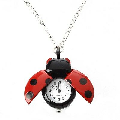 Red Ladybug Necklace Pendant Watch HOT DT