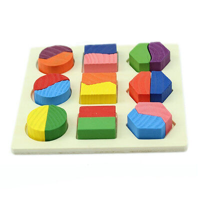 Baby Wooden Decomposition Boards Educational Toy Geometry Block Puzzle DT