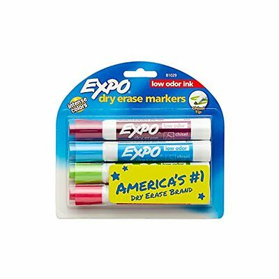 Expo 2 Low-Odor Dry Erase Markers, Chisel Tip, 4-Pack, Fashion Colors 81029