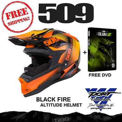 509 Altitude Black Fire Helmet With Gopro Mount + Breathbox And Free Dvd