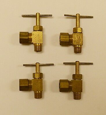 "Lot of 4~New Parker Brass Angle Needle Valves, 1/8"" NPT x 5/16"" Compression NOS"