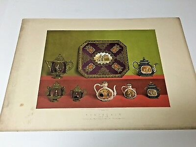 19th Century Large Chromolithograph of Decorative Arts, Russian Porcelain