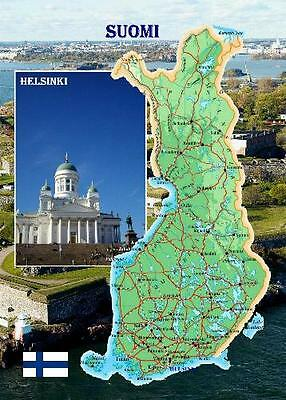 Finland Country Map New Postcard