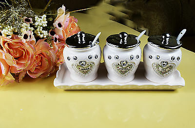 White & Silver Tea Coffee Suger Canisters Ceramic Kitchen Storage Jars with Tray