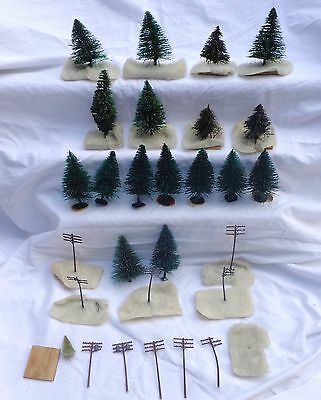 Putz Village Green Mini Christmas Artificial Trees Poles Metal Wood Base Vintage