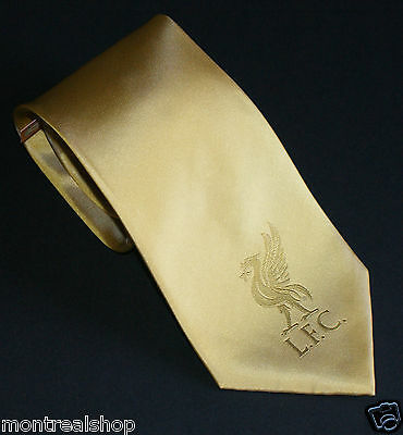 Liverpool Football Club Yellow Neck Tie with the Liverbird Logo - See Pictures