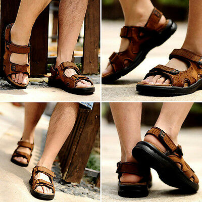 Genuine Leather Men's Sport Beach Sandals Fisherman Breathable Casual Shoes Fit