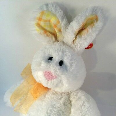 Ty Classic Harewood White Bunny Plush Yellow Plaid Gold Bow w/ Tags 2006 Lovie
