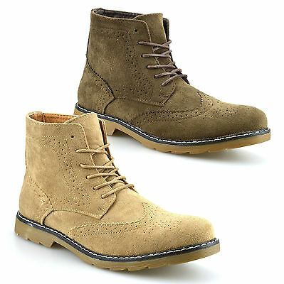 Mens Faux Suede Chelsea Dealer Casual Smart Ankle Desert Brogue Boots Shoes Size