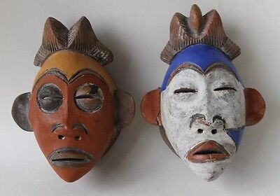 Lot If 2 Ceramic Mask Tribal Mexican Handmade Hand Painted Decor Home Small