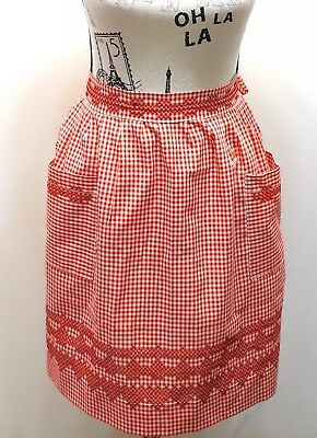 Vintage Half Apron Red Gingham Feels Cotton With Hand Cross Stitched Design
