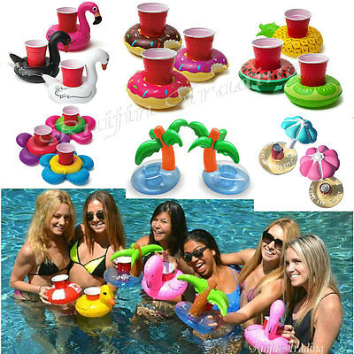 Cute Donuts Swimming Pool Inflatable Drink Can Beer Holder Summer Party Toy Boat