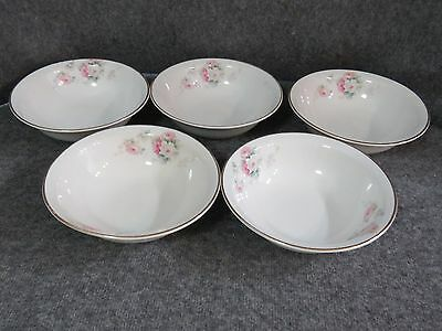 "Antique W.S George Derwood Pink/White Rose Pattern - 6""  Salad Bowls (5)"