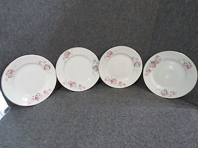 "Antique W.S George Derwood Pink/White Rose Pattern - 8 1/4"" Salad Plates (4)"