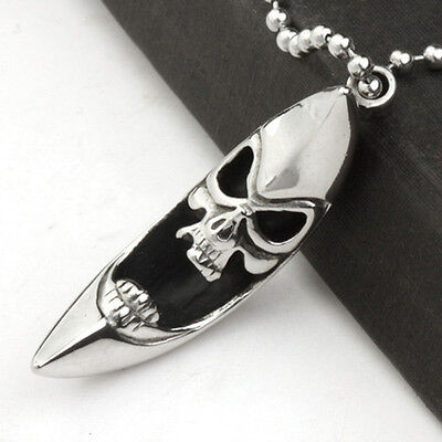 Women Men's Stainless Steel Moon Skull Head Pendant Leather Chain Necklace Gift