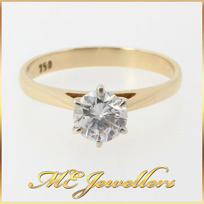 0.50ct Solitaire Round Brilliant Cut Diamond Engagement Ring 18K 750 Yellow Gold