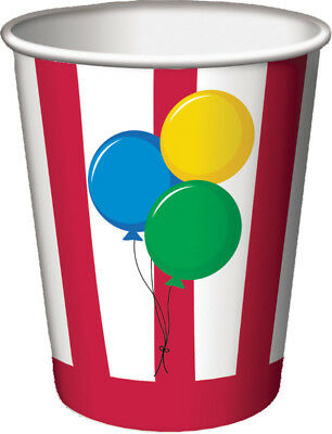 8 ct CIRCUS TIME 9 oz hot/cold Paper Cups Birthday Party Tableware
