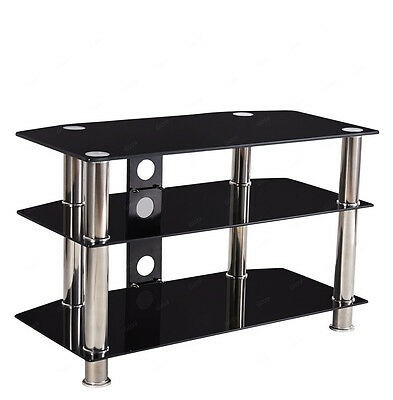"""Glass TV Audio Stand for 25 30 25 35 40"""" Inch Screens LCD LED Plasma Black New"""