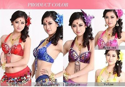 Professional Belly Dance Costume Performance Sequin Fringes Beaded Bra Top
