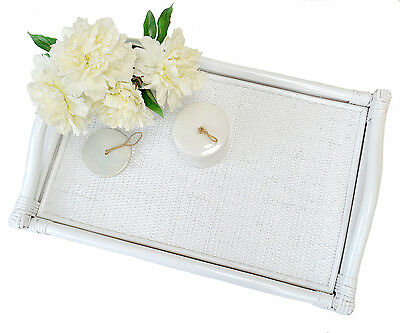 Raffles White Rattan Tray - Ottoman Tray Large Serving Tray