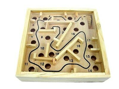 Vintage Small Wooden Hand Held Games Labyrinth Triangle Maze Toy