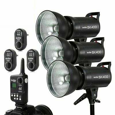 Godox 3x 400w 1200W SK400 Studio Strobe Flash Light Kit Set For Wedding Photo