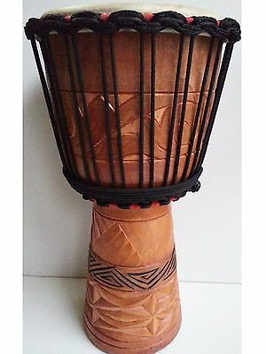 "Pro Quality Mahogany Wood Bongo Djembe Drum Deep Carved Tribal 50Cm 9-9.5"" Head"