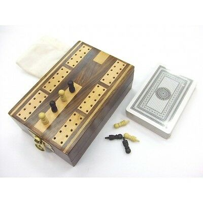Wooden Folding Cribbage Board Set 2 Track with Pegs & Cards Vintage Style