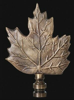 "MAPLE LEAF LAMP FINIAL ~ Antique Brass Finish  { 3 3/4"" Tall} ~ by PLD"