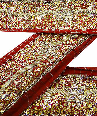 Vintage Indian Sari Border Used Hand Beaded Trim Sewing Maroon Ribbon Lace 1YD