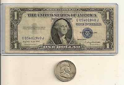 90% Silver $.50 face Franklin Half Dollar & one Silver Certificate Lot of 2