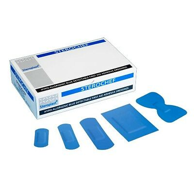 Steroplast Sterochef 100 Assorted Plaster Blue First Aid Dressing Cut Band Wrap