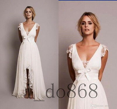 Grace Beach Wedding Dress Lace Sweep Bridal Gown White/Ivory Size 2 4 6 8 10 12+