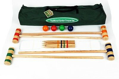 Family Croquet Set in Canvas Bag with Birch Wood Mallets