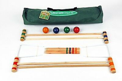 Traditional Junior Kids Croquet Set in Canvas Bag with Birch Wood Mallets