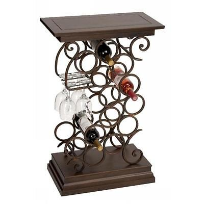 Benzara 68051 33 in. H x 21 in. W Metal Wood Wine Holder