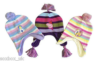 Girls Thermal Lined Warm Pom Pom Hat Peppa Pig, Minnie, Disney Princess One Size
