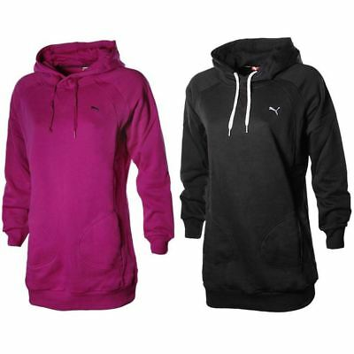 Womens Puma Lifestyle Hoodie Long Hooded Sweatshirt Hoody Top Fuschia Pink Black